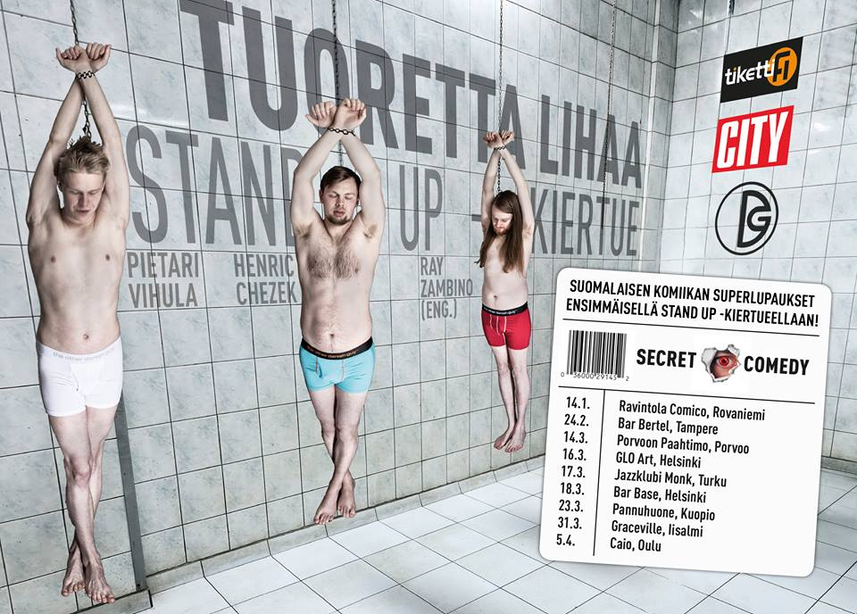 Secret Comedy (Finland) Fresh Meat Poster, Designed by Circa78 Creative (Photo supplied by Client)