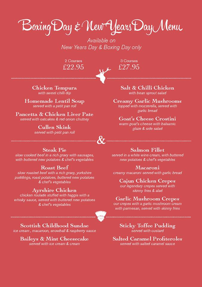 Stag and Thistle Xmas Menu Page 2
