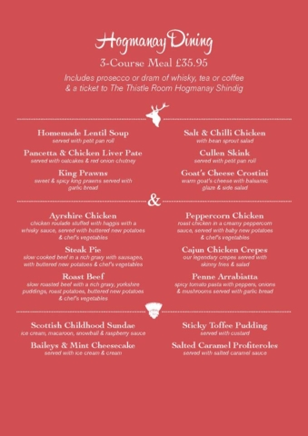 Stag and Thistle Xmas Menu Page 3